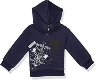 Giggles Printed Contrast Chest Pocket Ribbed Trims Hoodie for Boys