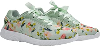 KazarMax XXIV Women's Sea Green Floral Walking Sneakers for Running/Gym/Workout [ALL005]