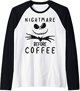 Cute Halloween Costume Funny Gift Nightmare Before Coffee Raglan Baseball Tee
