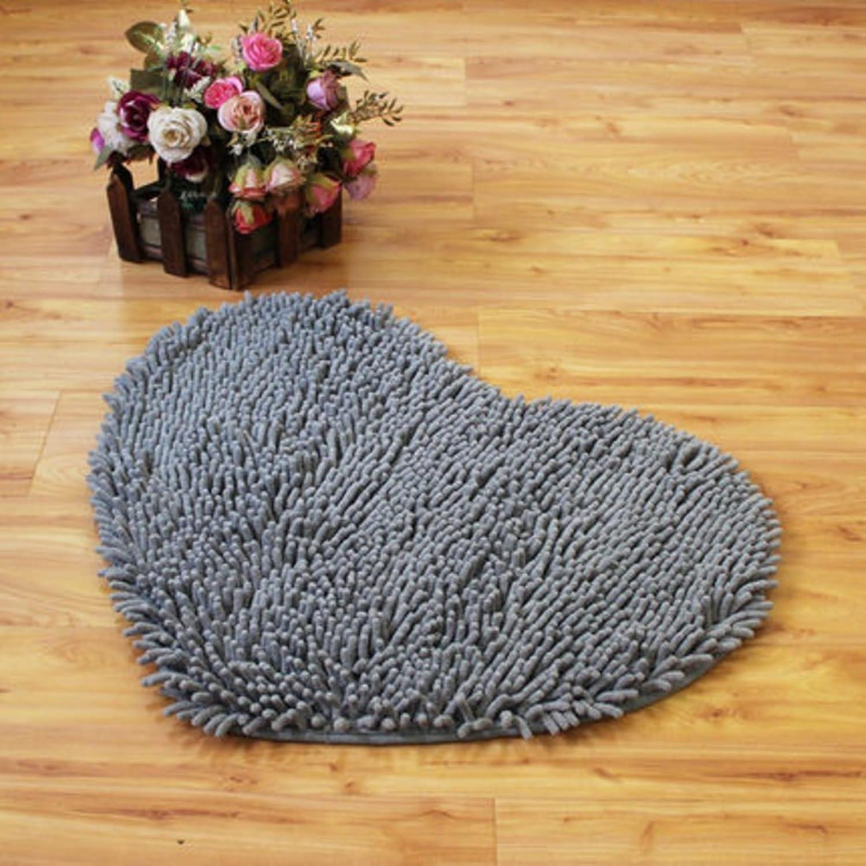 Chenille Heart Shaped mats Anti-Dirty Bedroom Door mat Bathroom Water-Absorbing mats-D 150x160cm(59x63inch)