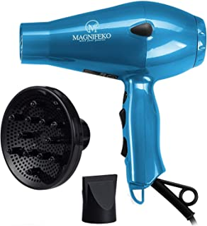 Magnifeko 1875W Professional Hair Dryer with Ionic Conditioning - Powerful, Fast Hairdryer Blow Dryer - 2 Speeds, 3 Heat Settings (Light Blue)