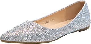 Sparkly Crystals Rhinestone Comfortable Slip On Point Toe Ballet Flat Shoes for Women Wedding Party Office