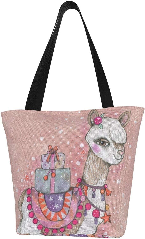 Llama Gifts Cute Pink Themed Printed Women Canvas Handbag Zipper Shoulder Bag Work Booksbag Tote Purse Leisure Hobo Bag For Shopping