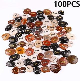 "RockImpact 100PCS Love Engraved Rocks Inspirational Stones Bulk Faith Stones Novelty Gifts Zen Stones Gratitude Rocks Healing Prayer Stones Encouragement Rocks Wholesale, 2""-3"" ea"