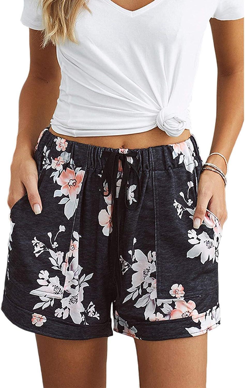 Daily bargain sale Qinvern Women's Paper Bag Shorts Waist Floral Print Elastic Max 45% OFF High