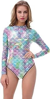 Women's One Piece Long Sleeve Rash Guard Swimwear Mermaid Sun Protection Swimsuit Bathing Suit
