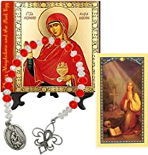 Gifts by Lulee, LLC Mary Magdalene and The Red Egg Patroness of Women Porcelain Tile Plaque Byzantine Style Includes a Blessed Prayer Card and a Czech Crystal Beads Chaplet
