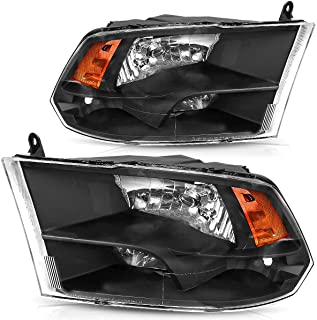 OEDRO Headlights Assembly Compatible with 2009-2018 Dodge Ram 1500 2500 3500 QUAD Pickup Replacement Headlamps, Black Housing Amber Side Clear Lens Headlights Set Left+Right, 2-Yr Warranty