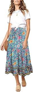 Women's Boho Floral Print Elastic High Waist Pleated A Line Midi Skirt with Pockets