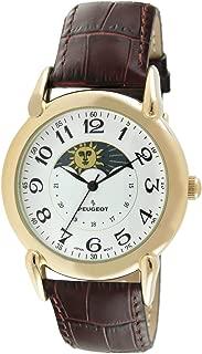 Peugeot Men's 14k Gold Plated Vintage Leather Dress Watch