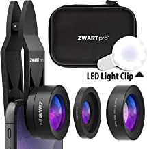 Phone Camera Lens Attachments | ZWARTpro Super Wide Angle + Macro 2 in 1 Cell Phone Lens Kit for iPhone, iPad, Most Android Smartphones & Tablets + Clip, LED Light & Travel Case (EagleEye 32mm + LED)