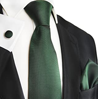 Black Forest Green Silk Necktie Set by Paul Malone