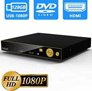 Ceihoit HD 1080P DVD CD Player for TV with HDMI AV Output, Support 128GB USB Flash Drive and 1080P Video, Metal Case, All Region Free