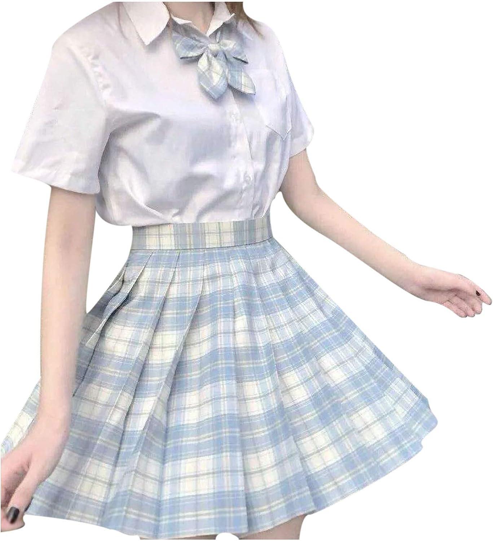 IKDXUF Teen Girls Pleated Mini Skirt with Bow-Knot, Cute Plaid Checked Print School Skirt A-Line High Waist Short Skirt
