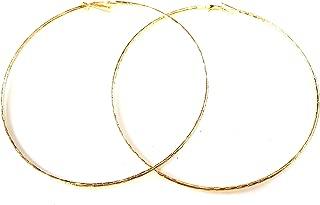 Large Hoop Earrings 4 inch Hoop Textured Thin Gold Or Silver Tone Earrings