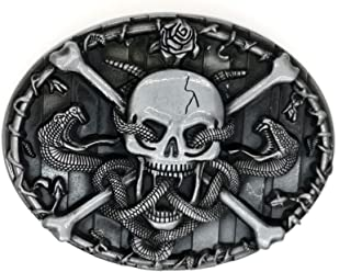 Western Cowboy Cross Skull Snake Belt Buckle For Men