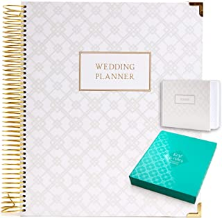 Wedding Planner Gift Set for The Bride to Be: 9x11 Hardcover Wedding Planner and Organizer, Gift Box, Guest Book, Clip-in ... photo