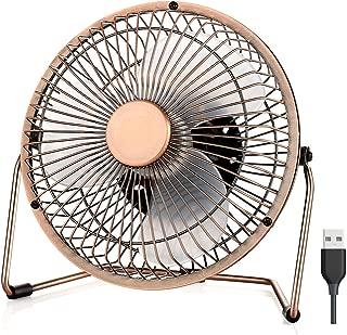 EasyAcc 6 Inch Desktop USB Fan, USB Quiet Desk Fan Low Noise Metal Table Fan for Personal Cooling Small Floor Fan with Upgraded 2 Speed Setting USB Powered Only Quiet Operation Enhanced Airflow-Bronze