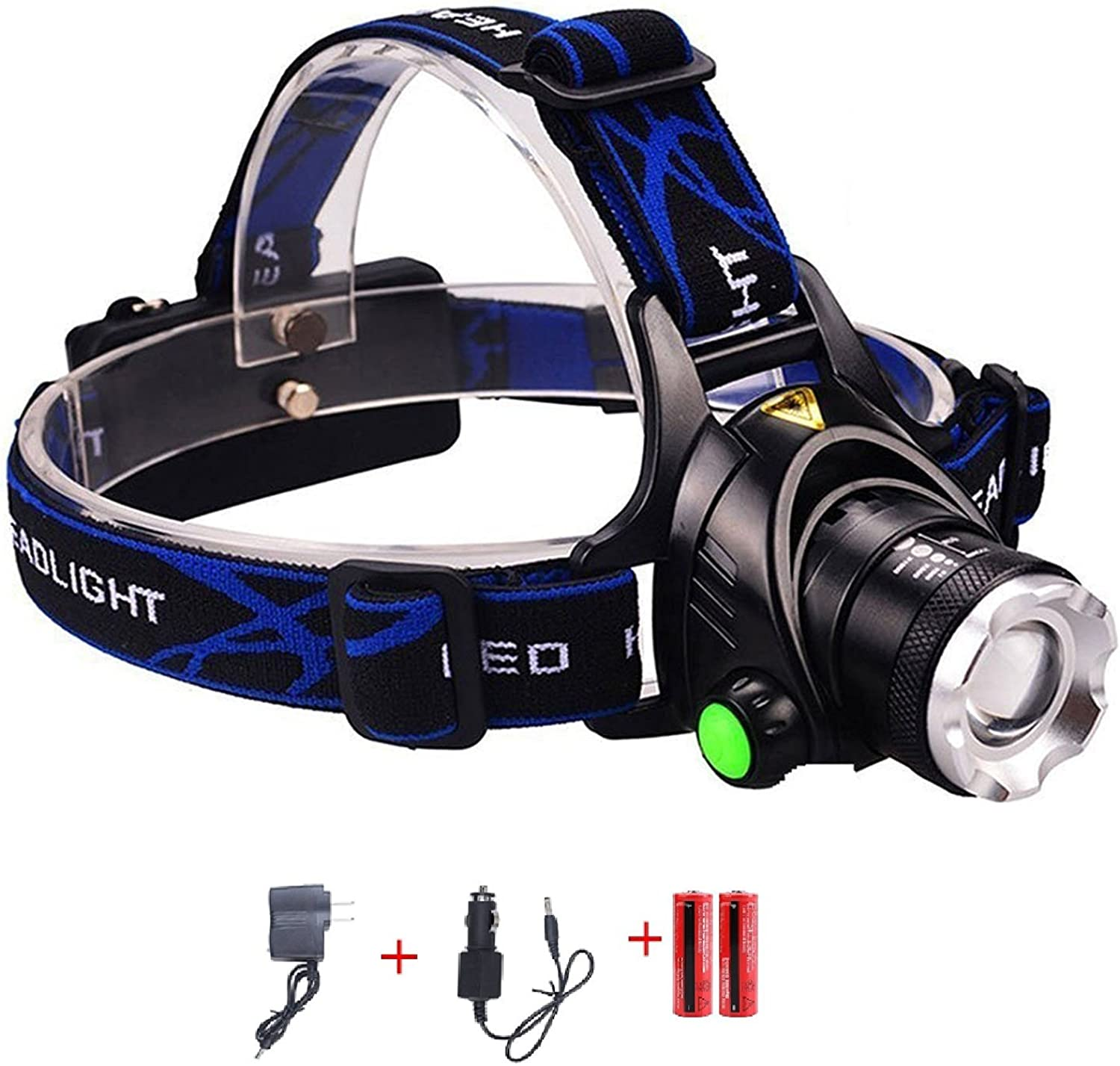 N.CHOICE Zoomable 3 Modes Super Bright LED Headlamp with Rechargeable Batteries, Car Charger, Wall Charger