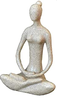 "Yoga Goddess Meditating Statue 8.7"" Sandstone 41436 Full Lotus"