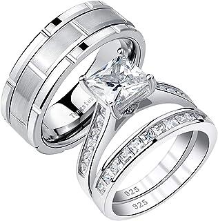 طقم خواتم الزواج من Newshe للرجال والنساء من فريق Tungsten Bands Princess Cz من الفضة الإسترلينية 5-13