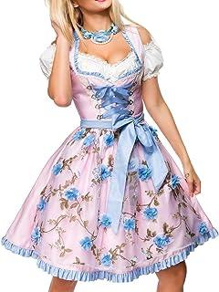 Unbekannt Dirndl Kleid Kostüm mit Herzausschnitt und Schnürung und Schürze aus glänzendem Stoff und Spitze Oktoberfest Dirndl