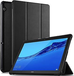 IVSO Huawei MediaPad T5 10 タブレット ケース 新型 カバー NEWモデル スタンド機能付き 保護ケース 三つ折 薄型 超軽量 全面保護型 NEW Huawei MediaPad T5 10 ケース ブラック