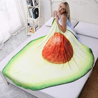 CASOFU Avocado Blanket, Cute Cartoon Food Fruit Throw Blankets, Soft and Comfortable Giant Round Beach Blanket for Kids and Adults (Avocado-a, 53X67 inches)