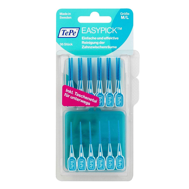大胆なグレー回転Tepe Easy Pick Blue M/l 36 Pack, Travel Case Included - Recommended By Dentists