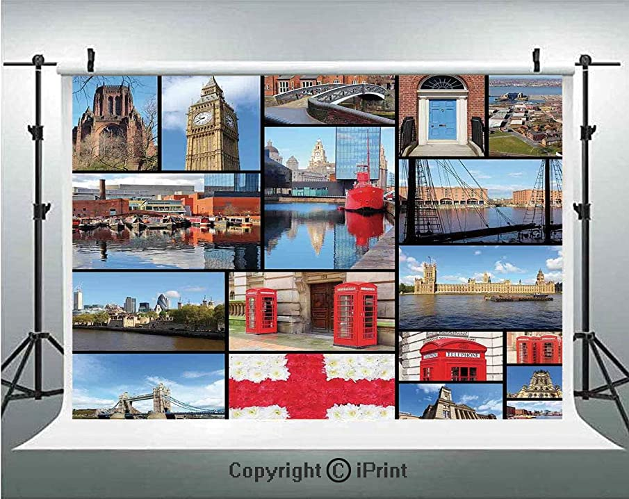 England Photography Backdrops England City Red Telephone Booth Clock Tower Bridge River British Flag with Flowers,Birthday Party Background Customized Microfiber Photo Studio Props,7x5ft,Blue Red