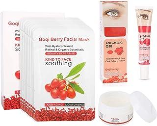 Goji Berry Anti-Aging Moisturizing Set, 10 Pcs Facial Mask + Face Cream + Dark Circle Wrinkle-Remove Eye Cream for Make Sk...