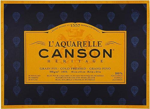 CANSON Aquarellmalerei Canson Erbe Block geklebt 4 iten 20 att feine K ung Feine K ung 46 x 61 cm
