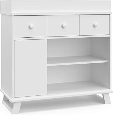 Storkcraft Modern Nursery Changing Table Dresser - Attached Changing Topper Fits Standard-Size Baby Changing Pad, 2 Drawers, 2 Shelves, Cabinet with 2 Adjustable Shelves, White