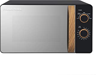 Russell Hobbs RHMM713B-N 17L 700w Scandi Compact Black Manual Microwave with 5 Power Levels, Wood Effect Handle & Dials, Timer, Defrost Setting, Easy Clean