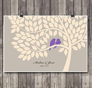 Alternative Wedding Anniversary Guest Book Poster Set - Signing Tree with 75 leaves. Ideal gift for couples, bridal showers and family reunions.