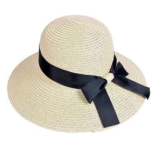 d6c908b5314 EINSKEY Ladies Sun Hat Panama Straw Hat Packable Wide Brim Summer Beach Hat  Fedora Trilby Hat