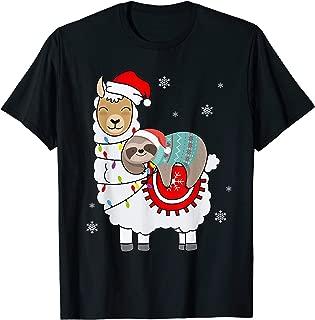 Santa Sloth Riding Llama Christmas T-Shirt