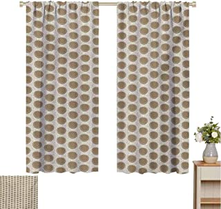 Mozenou Geometric, Window Curtain Fabric, Vintage Inspirations Rhombus Pattern in Circular Shapes on Line Background, Drapes for Living Room Pale Brown White
