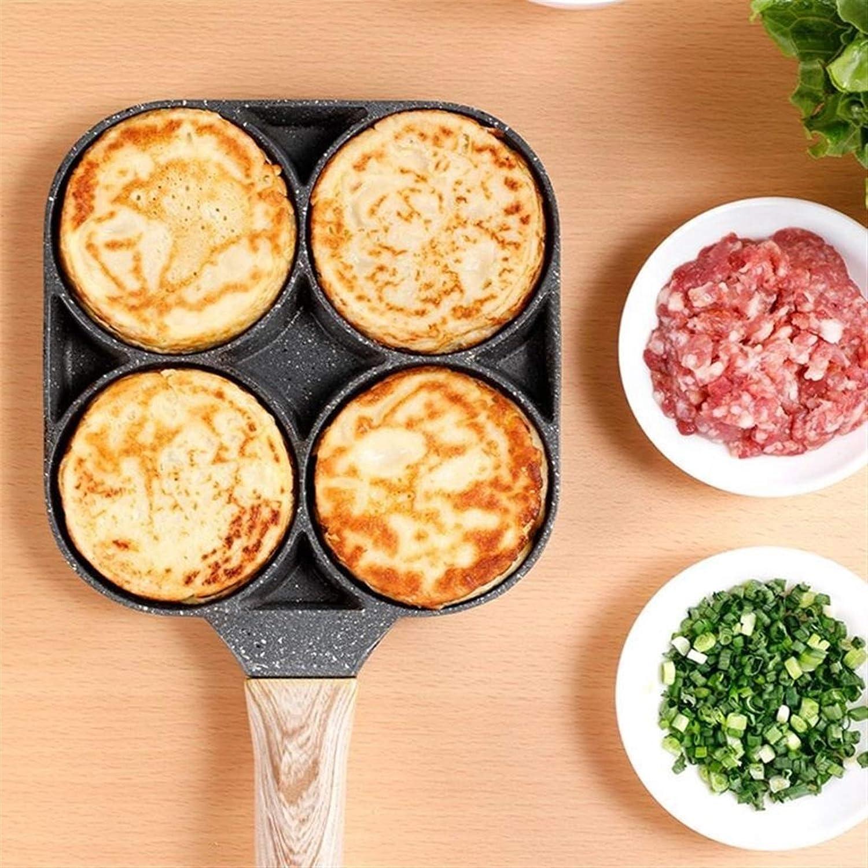 Omelette à 4 trous PAN PAN POT POINT ÉPAISÉE PANCAKE PANCAKE PANCAKE PANCAISE PANING PAIN HAMBURG PAIN PAIN bébé machine à induction (Color : Light Grey) Light Grey