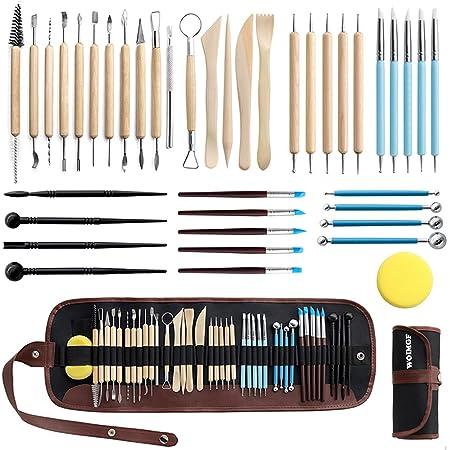WOMGF 41pcs Kit Outils de Poterie Sculpture Outil de Sculpture Argile Outils Sculpture Modelage pour Potier, Céramique, Artiste DIY, avec Sac de Rangement