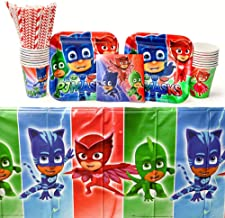 Amscan PJ Masks Party Supplies Pack for 16 Guests: Straws, Dessert Plates, Beverage Napkins, Table Cover, and Cups
