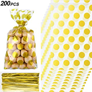 200 Pieces Gold Polka Dot Cellophane Bags with 200 Pieces Golden Twist Ties Party Supplies, 8.3 x 5.1 x 1.6 Inch Treat Candy Bags Party Gift Bags for Cookie Snack Wrapping Wedding Gift