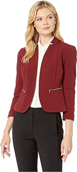 Stand Collar Stretch Kiss Front Jacket