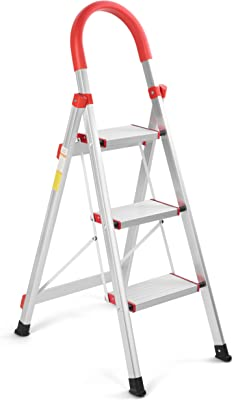 HYNAWIN Home Ladder, Folding Step Ladder, Aluminum Step Stool Ladder, Multi Purpose Lightweight Platform Stool, 330 lbs Load Capacity Ladder, 3 Step