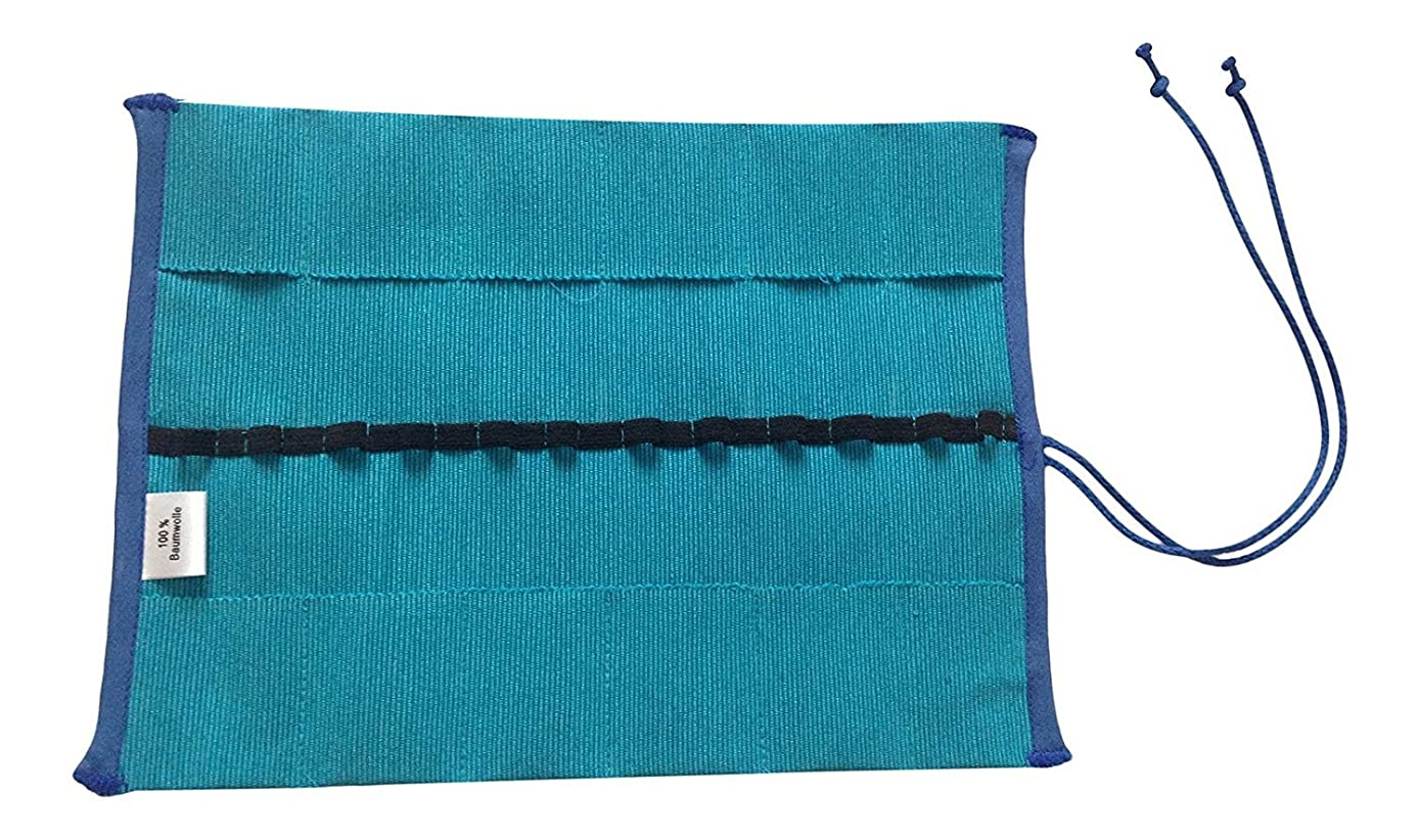 Natural Cotton Waldorf Crayon Roll Holder for Stockmar & Other Crayons (Blue)