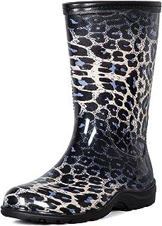 Women's Mid Calf Rain Boots, Ladies Garden Shoes with...