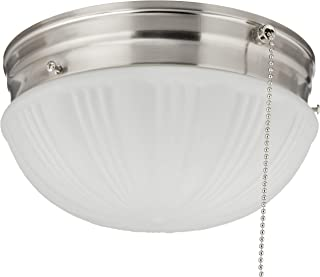 Westinghouse Lighting 6721000 Two-Light Flush-Mount Interior Ceiling Fixture with Pull Chain, Brushed Nickel Finish with Frosted Fluted Glass