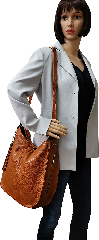 AmbraModa Sac à main pour femme italienne Sac à portés épaule Hobo Sac en cuir véritable GL026 Bleu Foncé