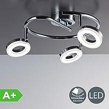 LED Lámpara de techo moderna I Foco en forma de espiral incl. 3x4,5W bombillas I Luz blanco calido 3000K I Giratorio y orientable I Color Cromado I Plástico y metal I 230V IP20