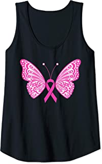 Womens Breast Cancer Awareness Pink Ribbon Tribal Butterfly Tattoo Tank Top
